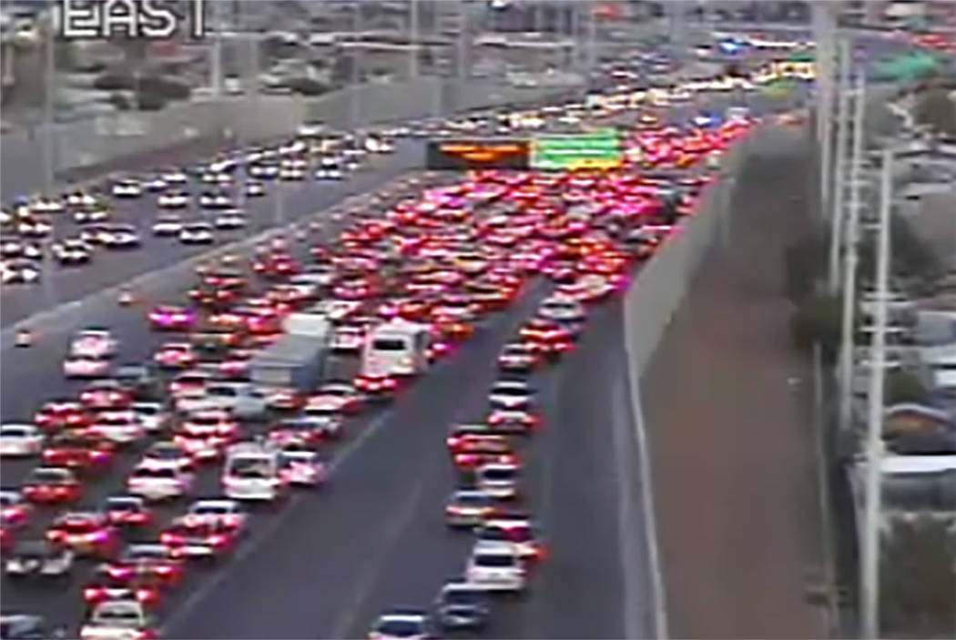 Traffic backs up in the southbound lanes of U.S. Highway 95 in Las Vegas on Friday night. (RTC Traffic Cameras)