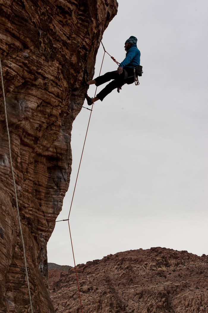 Greg Tambornino of Minneapolis, Minn., climbs his route at Calico Basin during Red Rock Rendezvous on Saturday, March 17, 2018.  Patrick Connolly Las Vegas Review-Journal @PConnPie