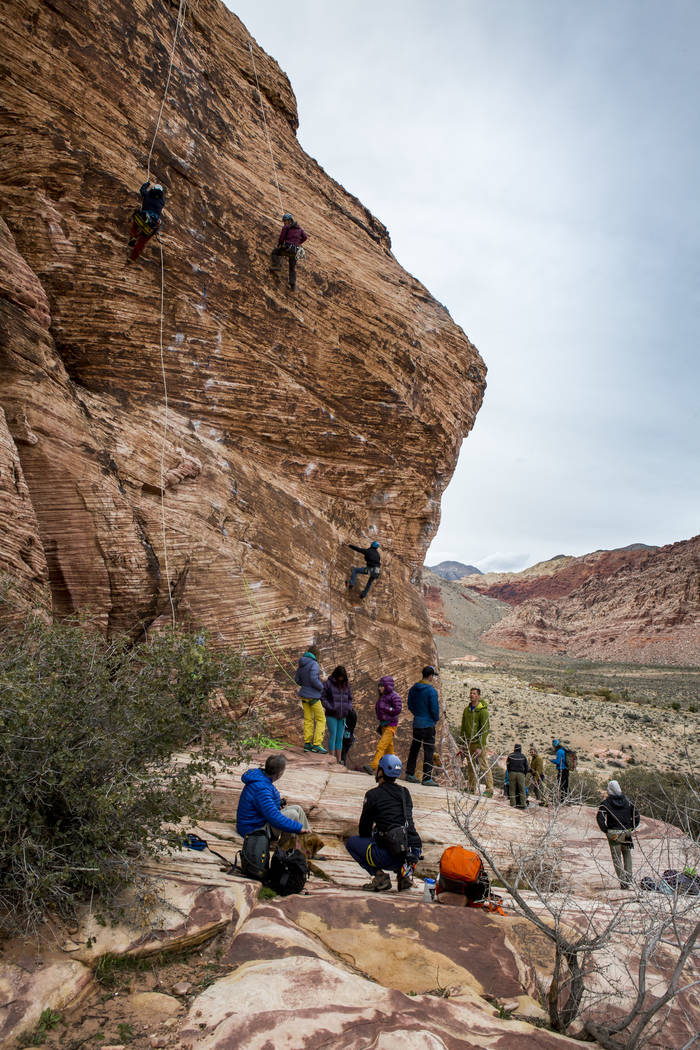 Climbers ascend a rock face at Calico Basin during Red Rock Rendezvous on Saturday, March 17, 2018.  Patrick Connolly Las Vegas Review-Journal @PConnPie