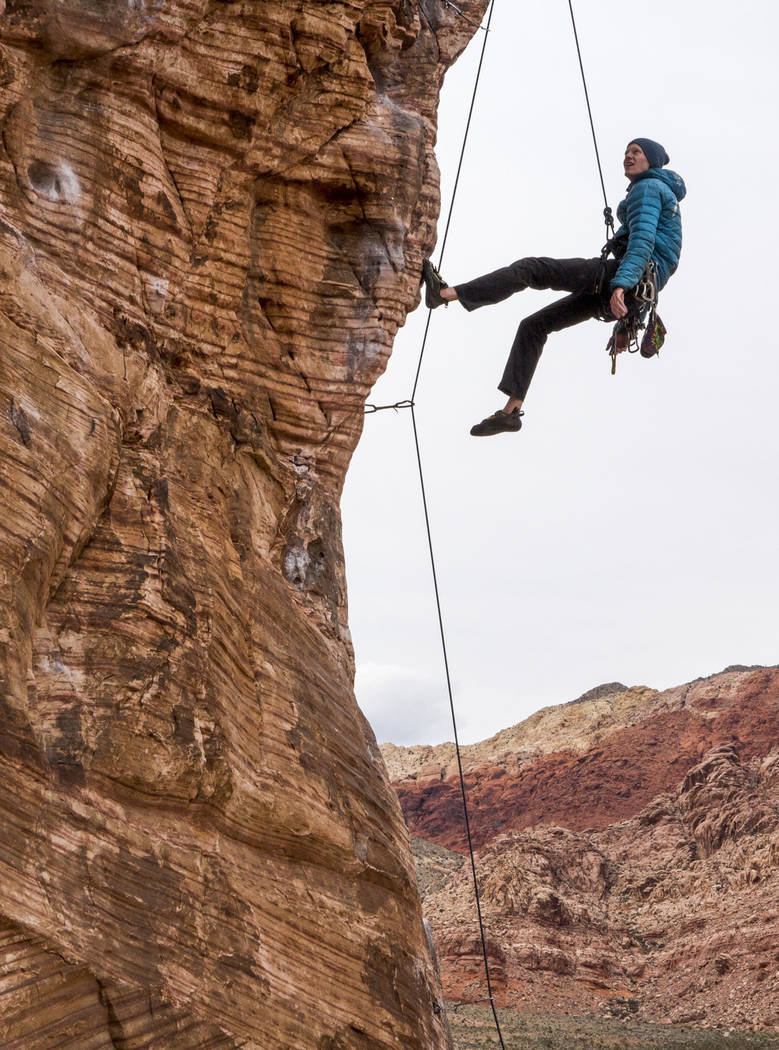 Eric Wesseling of Cincinnati, Ohio, figures out his next holds while climbing at Calico Basin during Red Rock Rendezvous on Saturday, March 17, 2018.  Patrick Connolly Las Vegas Review-Journal @PC ...