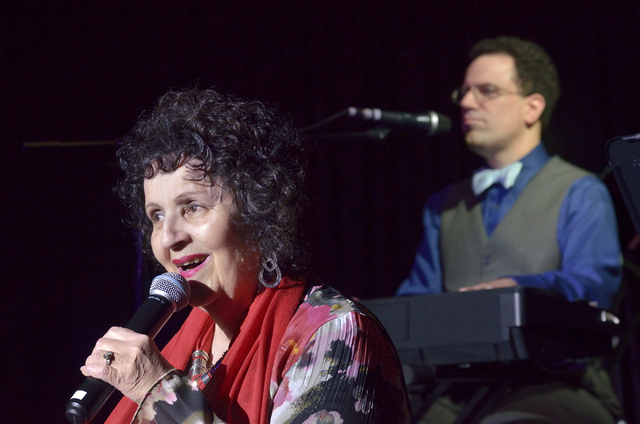 Rita Davidsen sings as her son Kenny Davidsen plays piano at the TSpot Lounge in the Tuscany hotel-casino at 255 E. Flamingo Road in Las Vegas on Tuesday, Sept. 9, 2014. Rita often sits in with Ke ...