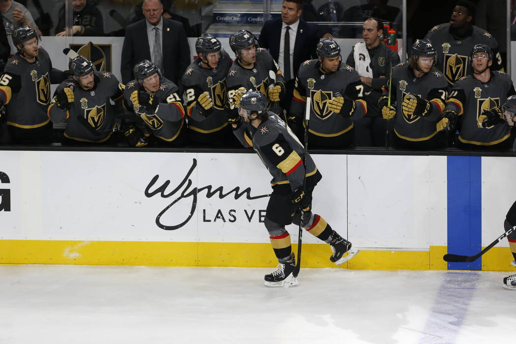 Vegas Golden Knights defenseman Colin Miller (6) celebrates his second period goal against the Calgary Flames at the T-Mobile Arena in Las Vegas on Sunday, March 18, 2018. Richard Brian Las Vegas  ...