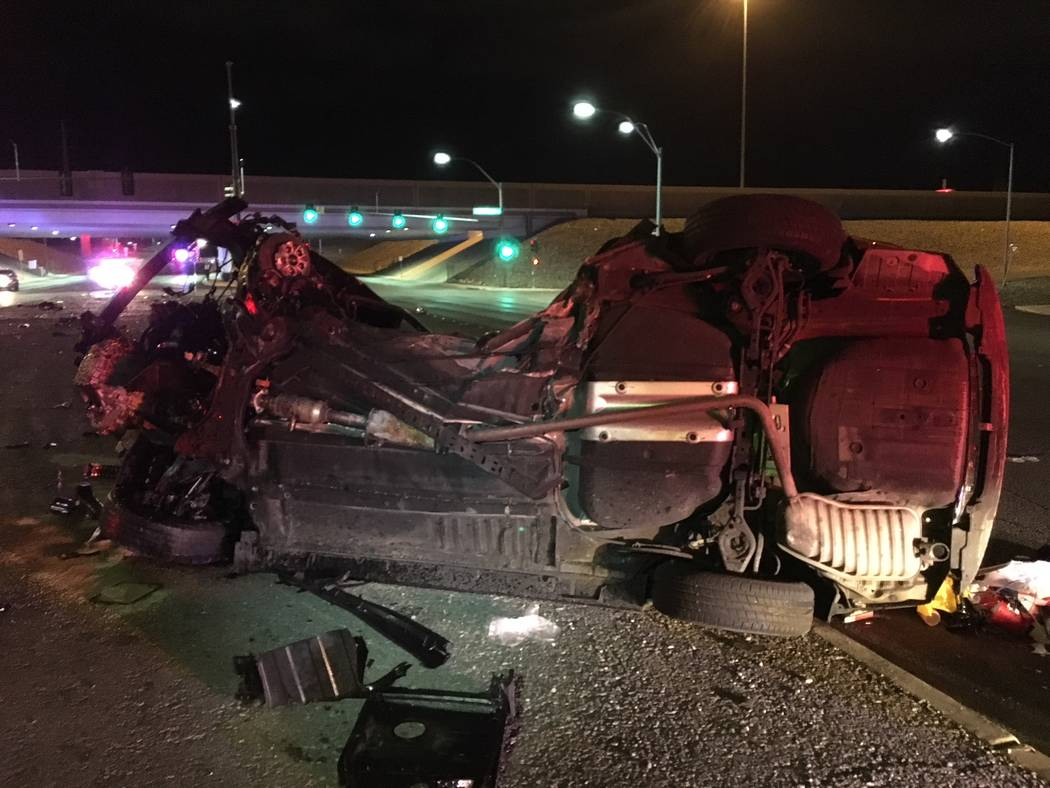 Two people were killed early Sunday just before 3:40 a.m. in the intersection of Pecos Road and the westbound 215 Beltway off-ramp. (Nevada Highway Patrol)