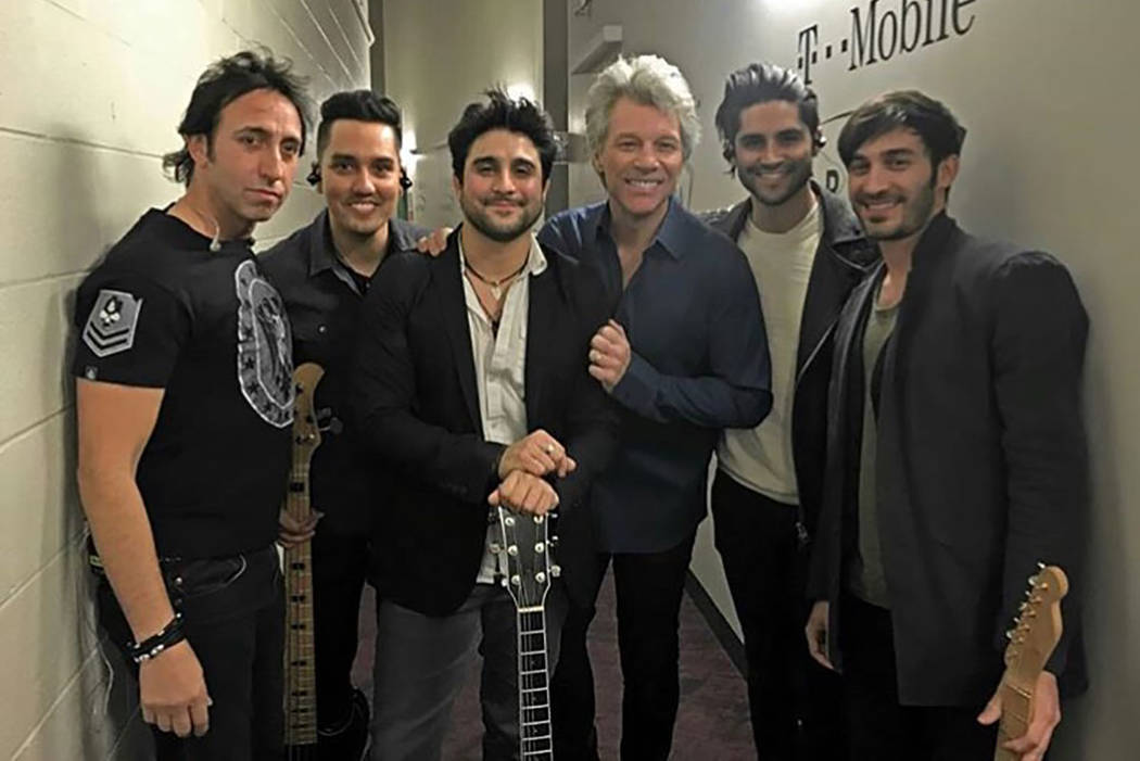 "Alex Papa, Fernando Tort, Vinnie ""Vin A."" Adinolfi, Jon Bon Jovi, Michael Joy and TasosPeltekis are shown at T-Mobile Arena before Vin A. opened for Bon Jovi on Saturday, March 17, 2018. (Elizabet ..."