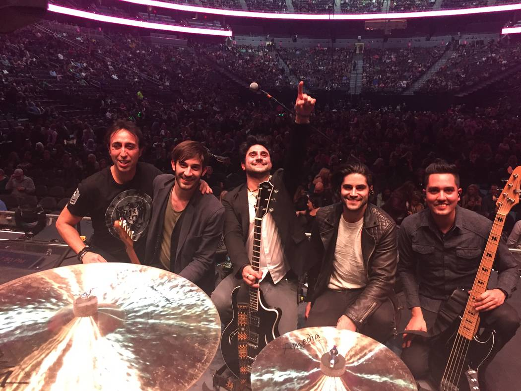 "Alex Papa, Tasos Peltekis, Vinnie ""Vin A."" Adinolfi, Michael Joy, Fernando Tort are shown at T-Mobile Arena after opening for Bon Jovi on Saturday, March 17, 2018. (Elizabeth Jane Hunt)"
