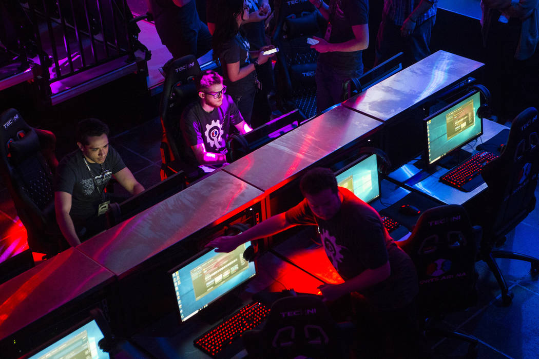 Final touches are made at Esports Arena Las Vegas hours before the grand opening at the Luxor in Las Vegas on Thursday, March 22, 2018. Chase Stevens Las Vegas Review-Journal @csstevensphoto