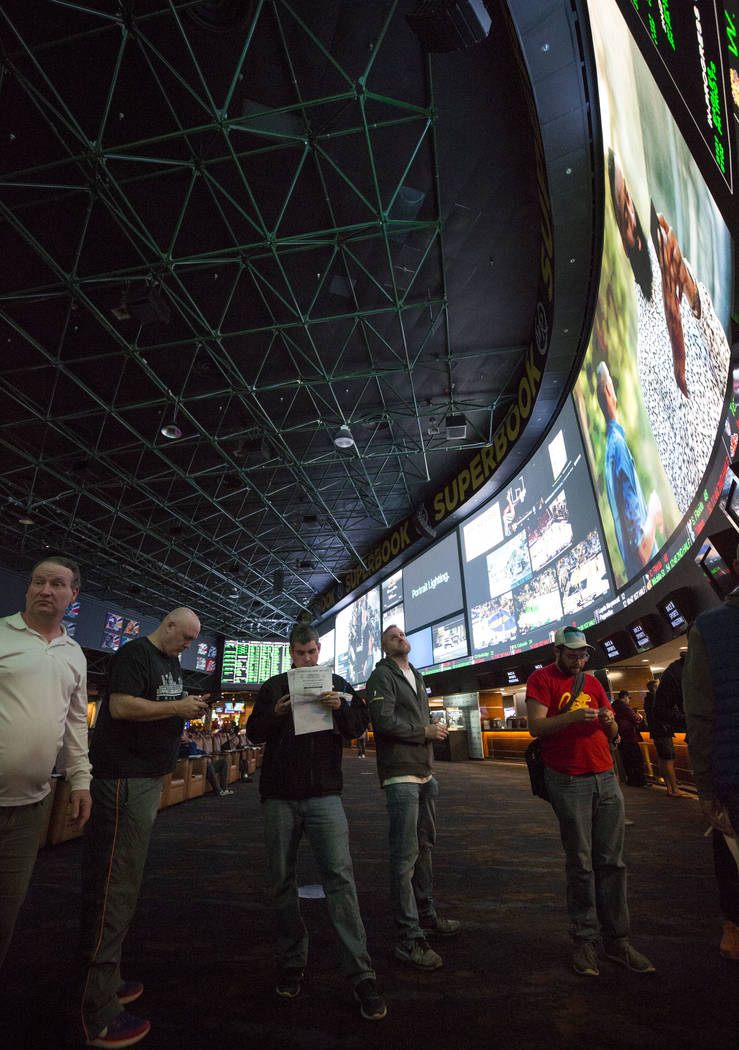 Bettors wait in line to place their Super Bowl prop bets at the Westgate Race & Sports Superbook on Thursday, Jan. 2, 2018. Richard Brian/Las Vegas Review-Journal @vegasphotograph