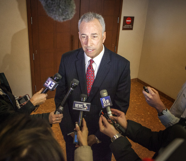 Clark County District Attorney Steve Wolfson speaks to the media in 2015 at the Regional Justice Center in Las Vegas. (Jeff Scheid/Las Vegas Review-Journal)