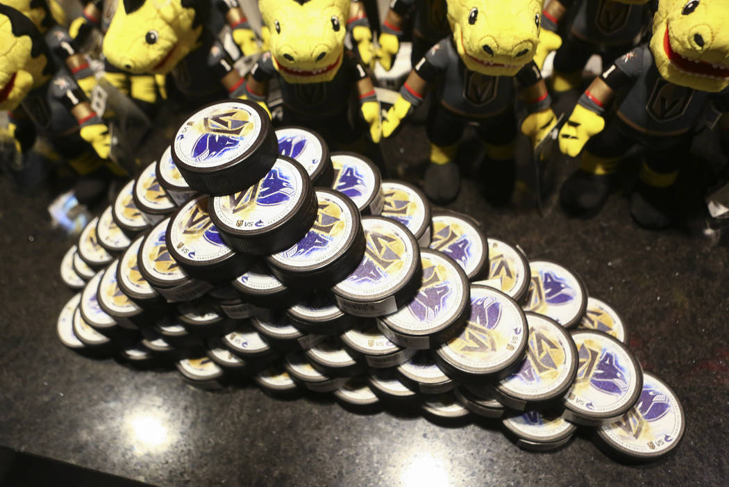 Limited edition gameday pucks available to customers before the Golden Knights play the Vancouver Canucks at T-Mobile Arena in Las Vegas on Tuesday, March 20, 2018. Chase Stevens Las Vegas Review- ...