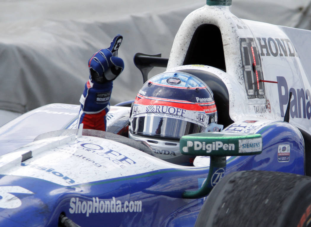 Takuma Sato, of Japan, celebrates winning the Indianapolis 500 auto race at Indianapolis Motor Speedway, Sunday, May 28, 2017 in Indianapolis. (AP Photo/Mike McKnown)