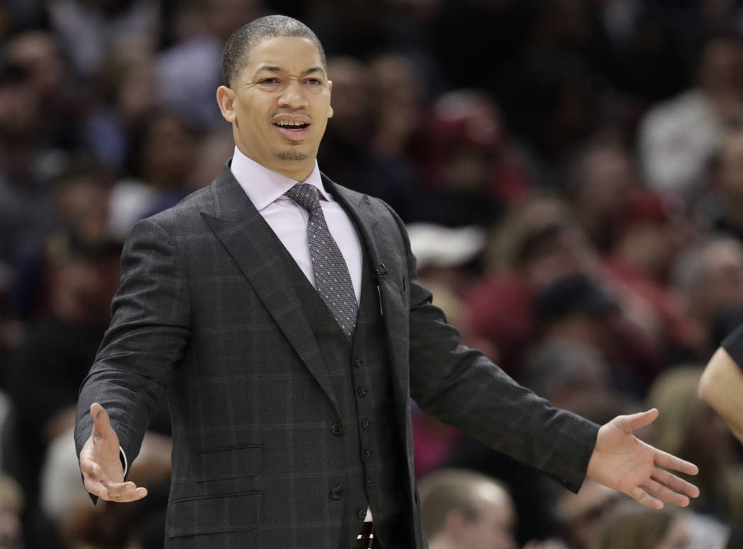 Cleveland Cavaliers head coach Tyronn Lue reacts in the first half of an NBA basketball game against the Oklahoma City Thunder, Saturday, Jan. 20, 2018, in Cleveland. The Thunder won 148-124. (AP  ...