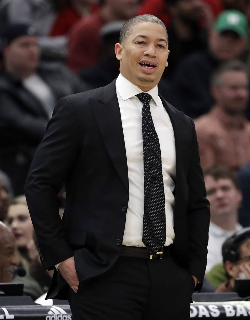 Cleveland Cavaliers head coach Tyronn Lue reacts as he watches his team during the first half of an NBA basketball game against the Chicago Bulls, Saturday, March 17, 2018, in Chicago. (AP Photo/N ...