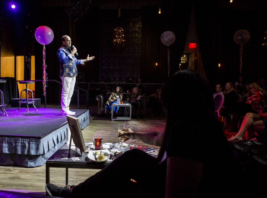 Poshmark founder and CEO Manish Chandra speaks at a Posh Party LIVE event at SLS Las Vegas on Tuesday, March 20, 2018.  Patrick Connolly Las Vegas Review-Journal @PConnPie