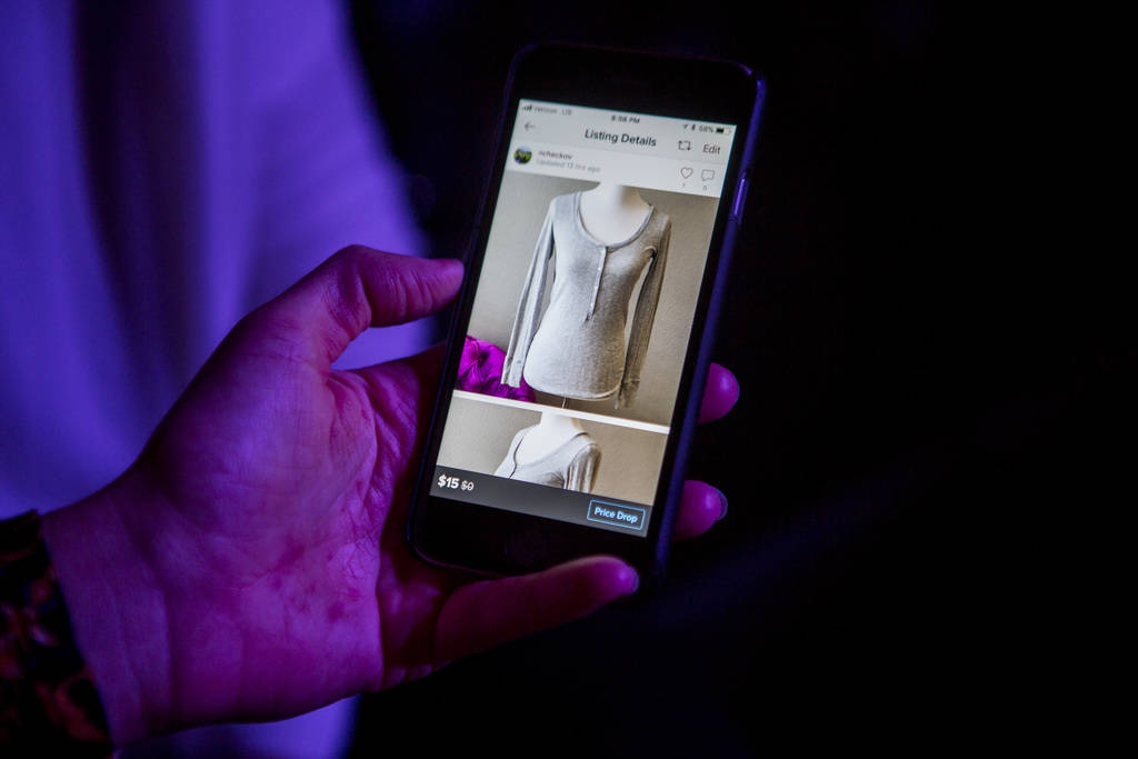 """Natasha Ncheckov's """"closet"""" on the Poshmark app at a Posh Party LIVE event at SLS Las Vegas on Tuesday, March 20, 2018.  Patrick Connolly Las Vegas Review-Journal @PConnPie"""