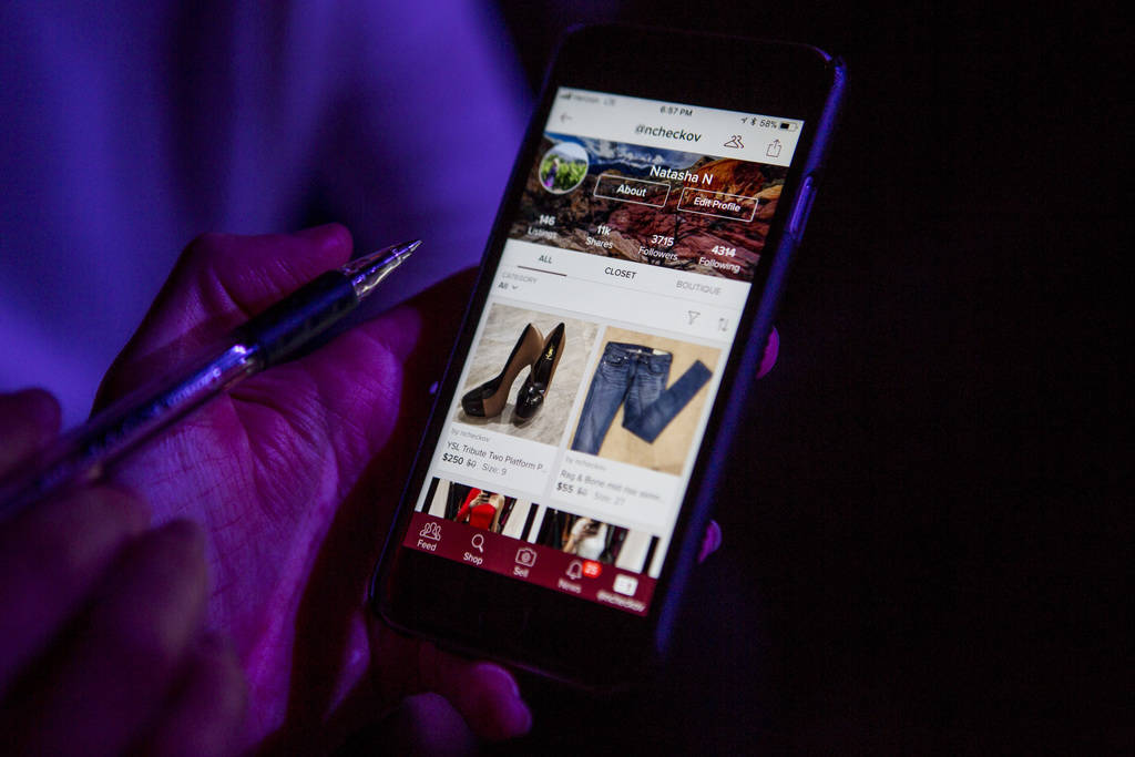 "Natasha Ncheckov's ""closet"" on the Poshmark app at a Posh Party LIVE event at SLS Las Vegas on Tuesday, March 20, 2018.  Patrick Connolly Las Vegas Review-Journal @PConnPie"