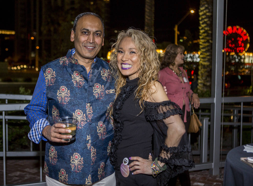 Poshmark founder and CEO Manish Chandra with Anna Lehman of Las Vegas at a Posh Party LIVE event at SLS Las Vegas on Tuesday, March 20, 2018.  Patrick Connolly Las Vegas Review-Journal @PConnPie