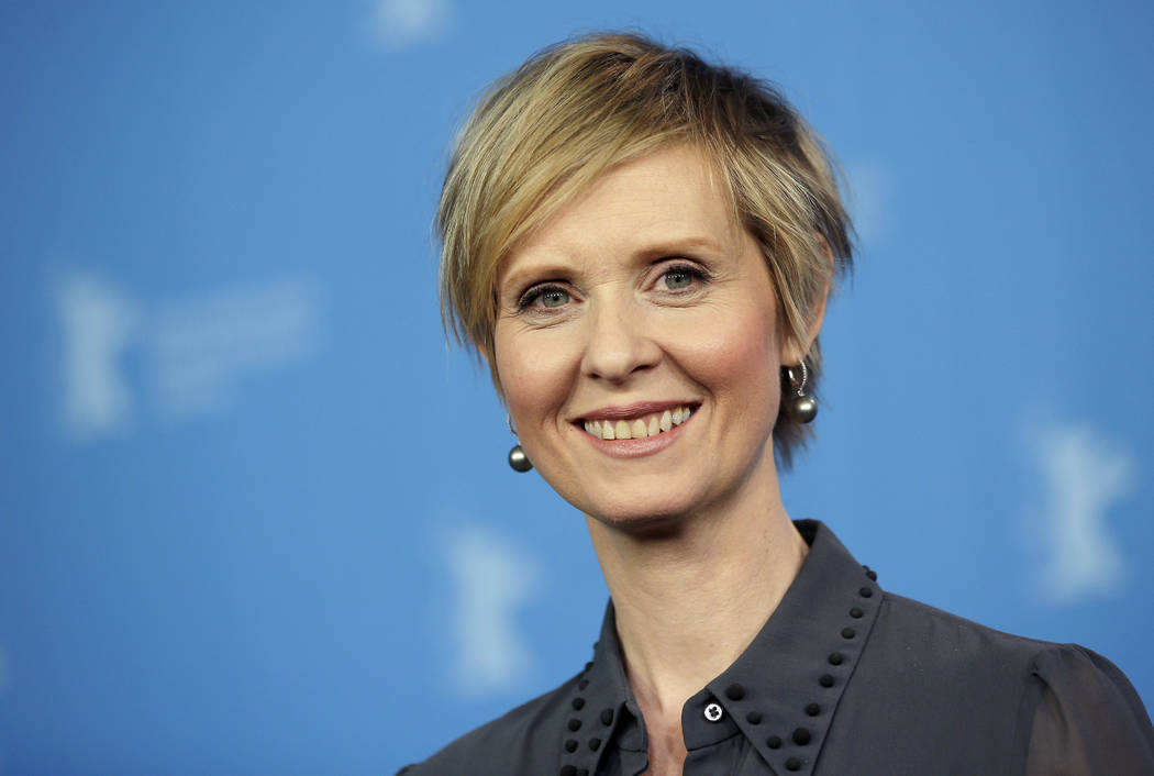 """Actress Cynthia Nixon poses for the photographers during a photo call for the film 'A Quiet Passion' at the 2016 Berlinale Film Festival in Berlin, Germany, Feb. 14, 2016. The former """"Sex and the  ..."""