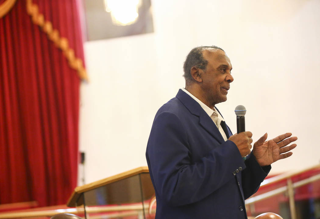 Las Vegas City Council candidate Harvey Munford speaks during a forum of candidates competing to represent the city's Ward 5 at Victory Missionary Baptist Church in Las Vegas on Wednesday, March 2 ...