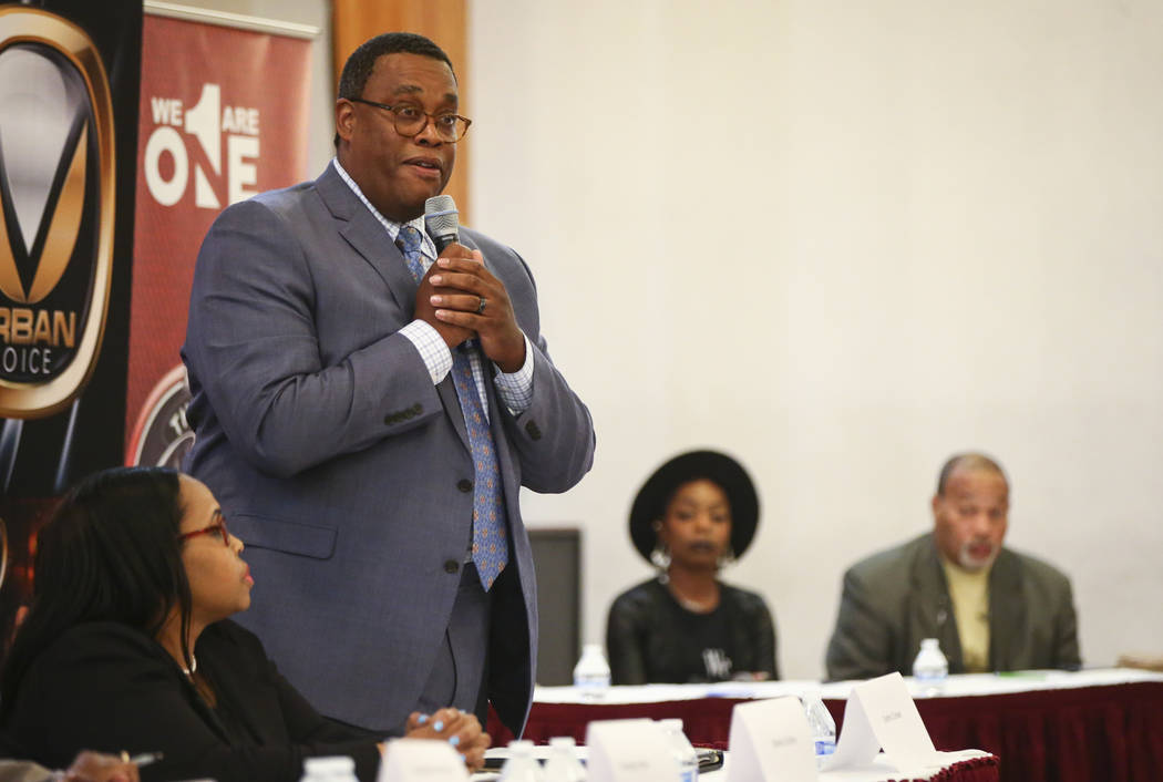 Las Vegas City Council candidate Cedric Crear speaks during a forum of candidates competing to represent the city's Ward 5 at Victory Missionary Baptist Church in Las Vegas on Wednesday, March 21, ...