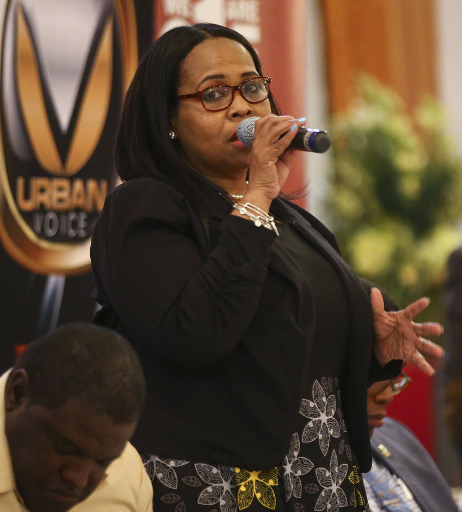 Las Vegas City Council candidate Sheila Collins speaks during a forum of candidates competing to represent the city's Ward 5 at Victory Missionary Baptist Church in Las Vegas on Wednesday, March 2 ...