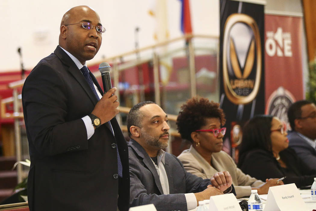 Las Vegas City Council candidate Joe Mitchell speaks during a forum of candidates competing to represent the city's Ward 5 at Victory Missionary Baptist Church in Las Vegas on Wednesday, March 21, ...