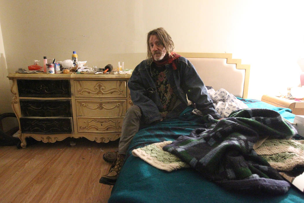 Gary, who declined to give his last name, talks to a reporter in his room at 724 N. 9th St. in downtown Las Vegas Thursday, Jan. 25, 2018. The home was part of a Nevada state program that pays pro ...