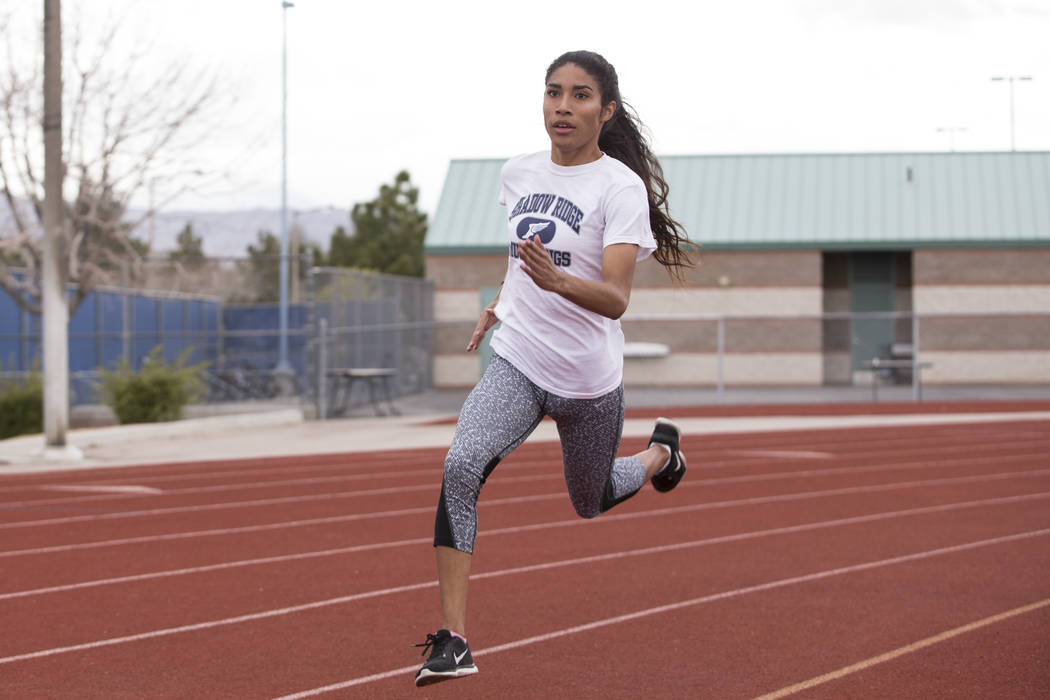 Dayvian Diaz, 18, during a track practice at Shadow Ridge High School in Las Vegas, Wednesday, March 21, 2018. Erik Verduzco Las Vegas Review-Journal @Erik_Verduzco