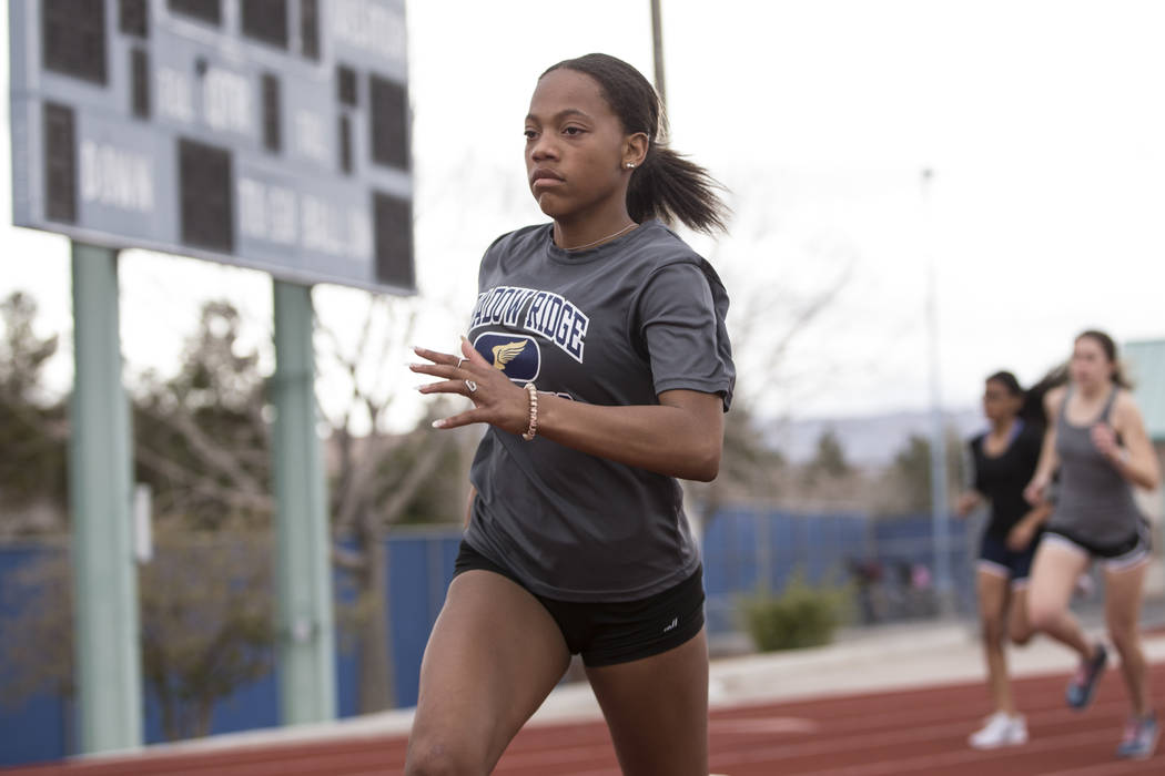 Jordan Ford, 17, during a track practice at Shadow Ridge High School in Las Vegas, Wednesday, March 21, 2018. Erik Verduzco Las Vegas Review-Journal @Erik_Verduzco