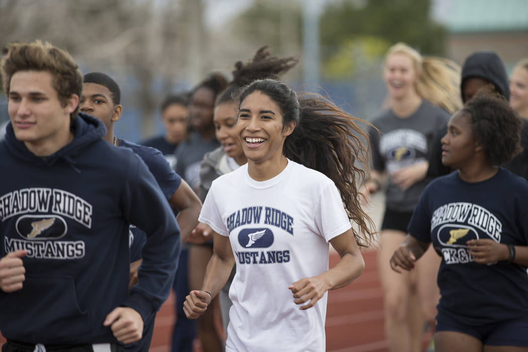 Dayvian Diaz, 18, center, during a track practice at Shadow Ridge High School in Las Vegas, Wednesday, March 21, 2018. Erik Verduzco Las Vegas Review-Journal @Erik_Verduzco