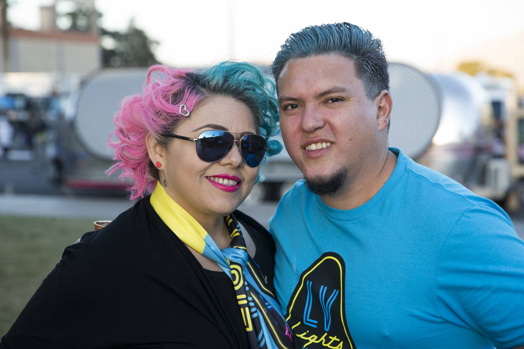 Margarita Nandy, left, with her husband Cesar Jimenez,  during the United Soccer League season home opener game for the Las Vegas Lights FC at Cashman Field in Las Vegas, Saturday, March 24, 2018. ...