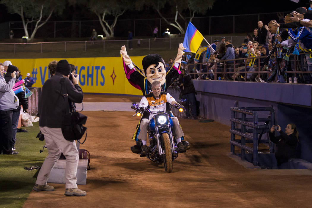 Las Vegas Lights FC mascot Cash the Soccer Rocker makes his entrance to the field for the United Soccer League game against Reno 1868 FC at Cashman Field in Las Vegas, Saturday, March 24, 2018. Er ...
