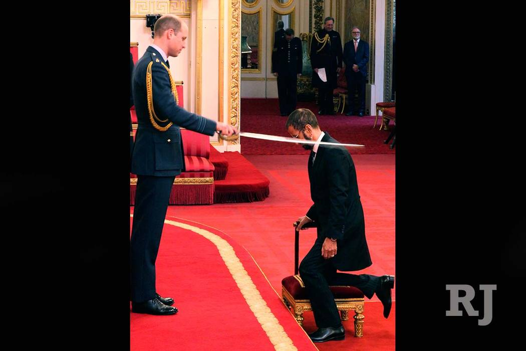 Beatles Drummer Ringo Starr Is Made A Knight By Britains Prince William At Buckingham Palace During