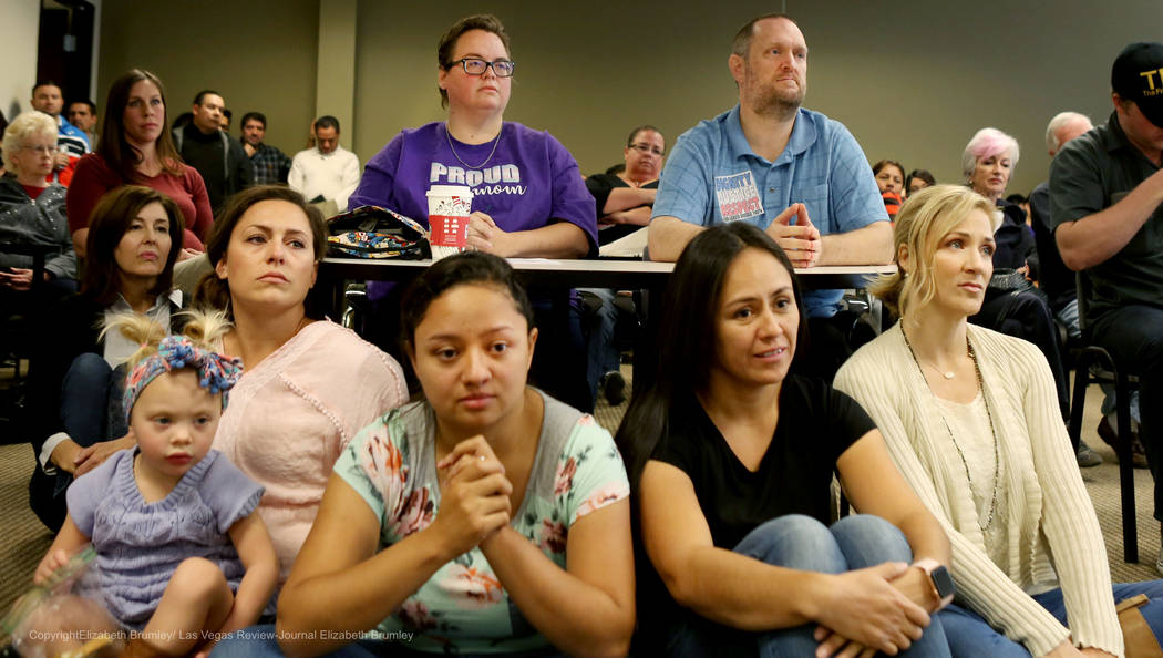 Individuals listen to options shared on the transgender policies for the Clark County School District at Nevada Department of Education in Las Vegas, Tuesday, Nov. 28, 2017. Elizabeth Brumley Las  ...