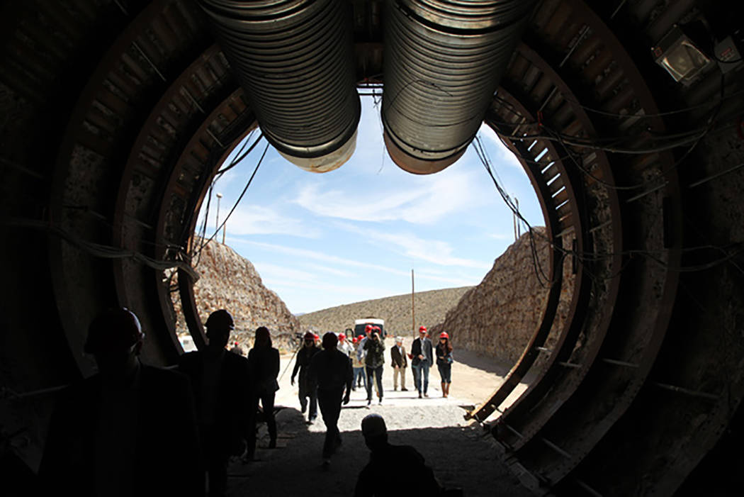 Members of a congressional tour of the Yucca Mountain exploratory tunnel enter the south portal, April 9, 2015. (Sam Morris/Las Vegas Review-Journal)