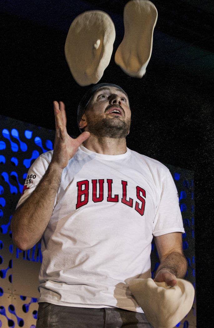 Jerome Falcojuggles pizza dough during the freestyle acrobatic dough tossing event of the World Pizza Games at the Las Vegas Convention Center in Las Vegas, Wednesday, March 21, 2018. Patrick Co ...