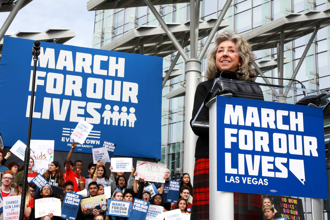 Rep. Dina Titus, D-Nev.addresses the crowd during the Las Vegas March for Our Lives event, which started at Symphony Park and ended in Las Vegas City Hall, on Saturday, March 24, 2018. Andre ...