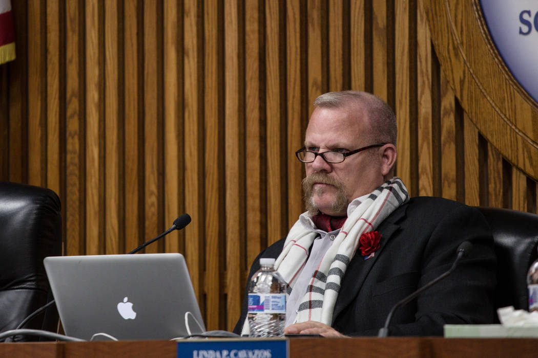 Clark County School District Board of Trustees Member Kevin L. Child at a regular board meeting in the Edward A. Greer Education Center in Las Vegas, Tuesday, Dec. 5, 2017. Joel Angel Juarez Las V ...