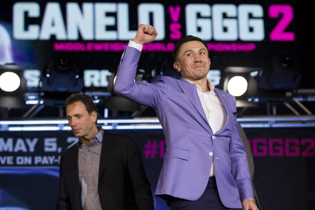 "Gennady Golovkin during a boxing press conference for his upcoming fight against Saul ""Canelo"" Alvarez, at Microsoft Square in Los Angeles, Calif., Tuesday, Feb. 27, 2018. Erik Verduzco  ..."