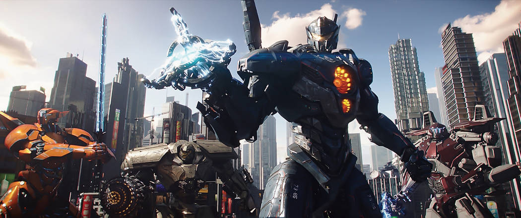 """(L to R) Jaeger mechs Saber Athena, Bracer Phoenix, Gipsy Avenger and Guardian Bravo in """"Pacific Rim Uprising.""""  The globe-spanning conflict between otherworldly monsters of mass destruction and t ..."""