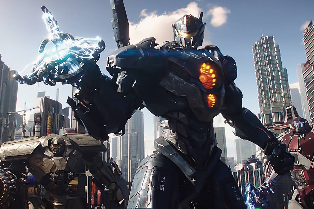"""(L to R) Jaeger mechs Bracer Phoenix, Gipsy Avenger and Guardian Bravo in """"Pacific Rim Uprising.""""  The globe-spanning conflict between otherworldly monsters of mass destruction and the human-pilot ..."""