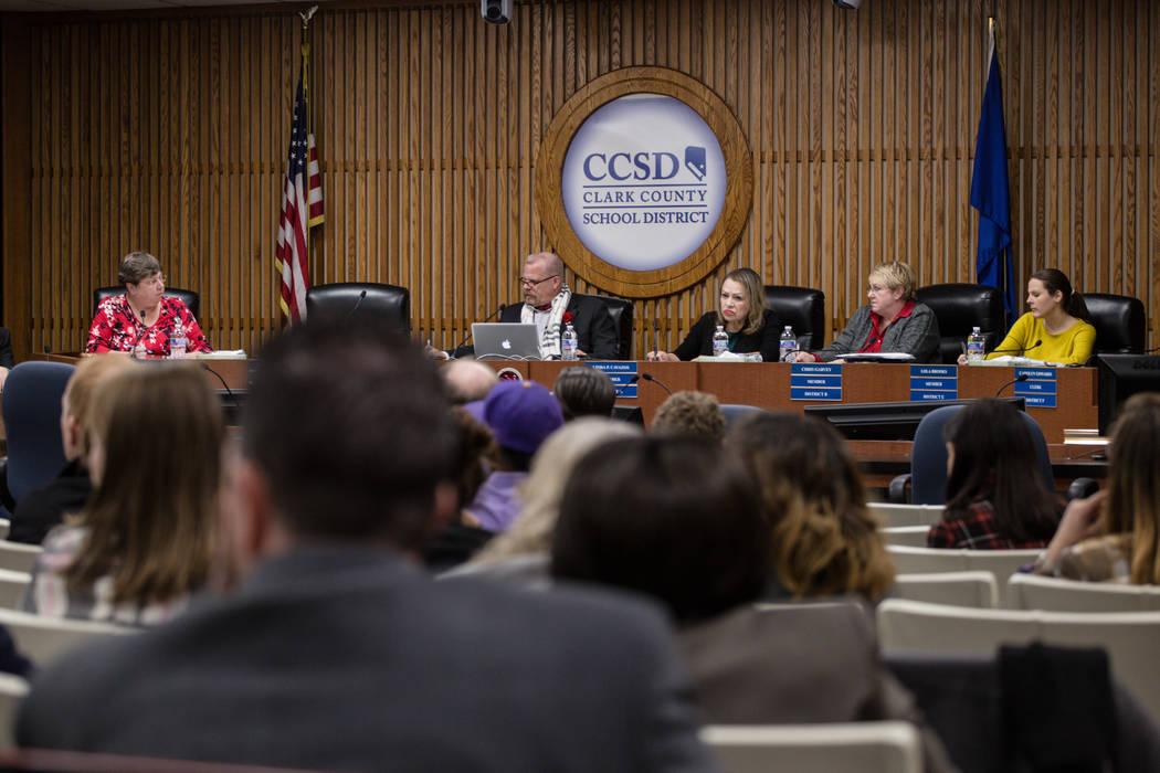 Clark County School District Board of Trustees at a regular board meeting in the Edward A. Greer Education Center in Las Vegas, Tuesday, Dec. 5, 2017. Joel Angel Juarez Las Vegas Review-Journal @j ...