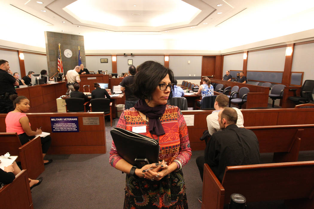 Ivette Barreres, a victim advocate with Safe Nest, in Domestic Violence court at the Regional Justice Center in Las Vegas, Thursday, March 22, 2018. K.M. Cannon Las Vegas Review-Journal @KMCannonPhoto