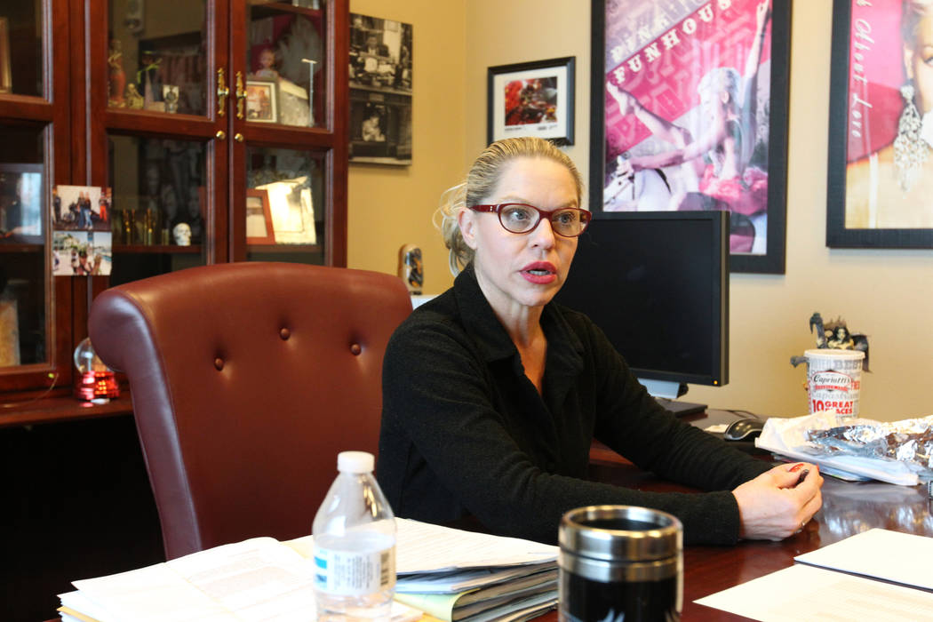 Judge Melanie Andress-Tobiasson, who presides over Domestic Violence court, talks to a reporter in her chambers at the Regional Justice Center in Las Vegas, Thursday, March 22, 2018. K.M. Cannon L ...
