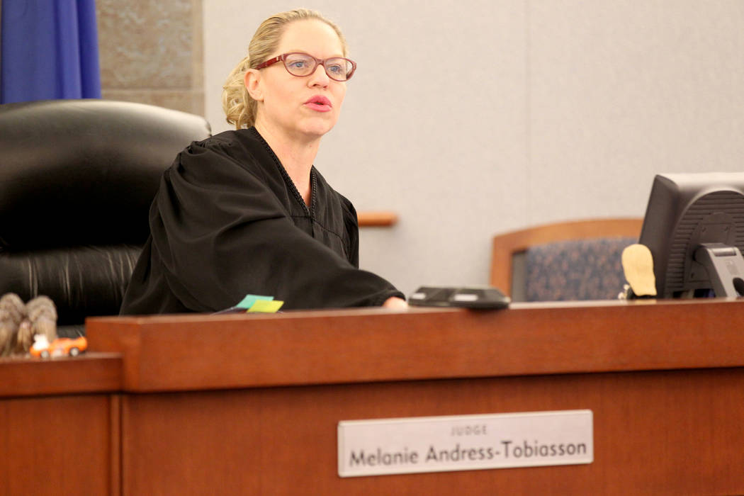 Judge Melanie Andress-Tobiasson presides over Domestic Violence court at the Regional Justice Center in Las Vegas, Thursday, March 22, 2018. K.M. Cannon Las Vegas Review-Journal @KMCannonPhoto