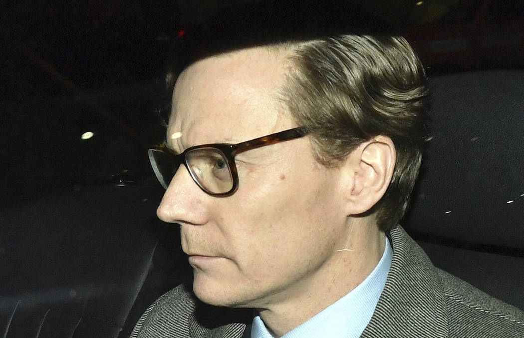 Chief Executive of Cambridge Analytica (CA) Alexander Nix, leaves the offices in central London, Tuesday March 20, 2018.  Cambridge Analytica, has been accused of improperly using information from ...