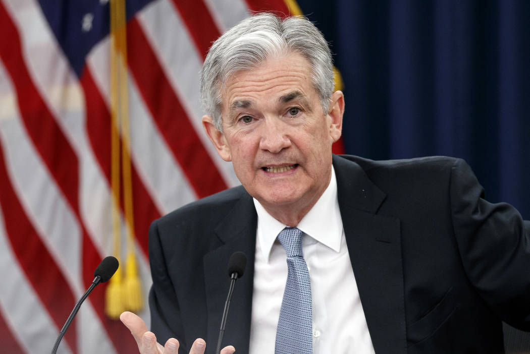 Federal Reserve Chairman Jerome Powell speaks following the Federal Open Market Committee meeting in Washington, Wednesday, March 21, 2018. The Federal Reserve is raising its benchmark interest ra ...