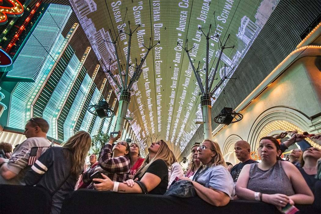 The names of the 58 people who were killed at the Route 91 Harvest Festival shooting are displayed on new Viva Vision screen during a video montage honoring victims and first responders on Saturda ...