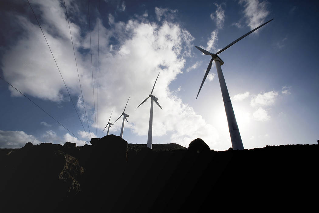 Wind turbine and wind swept surrounding plants and terrain of the 45th Operations Group Detachment 2, at Ascension Auxiliary Airfield (AAF), South Atlantic Ocean. (Thinkstock)