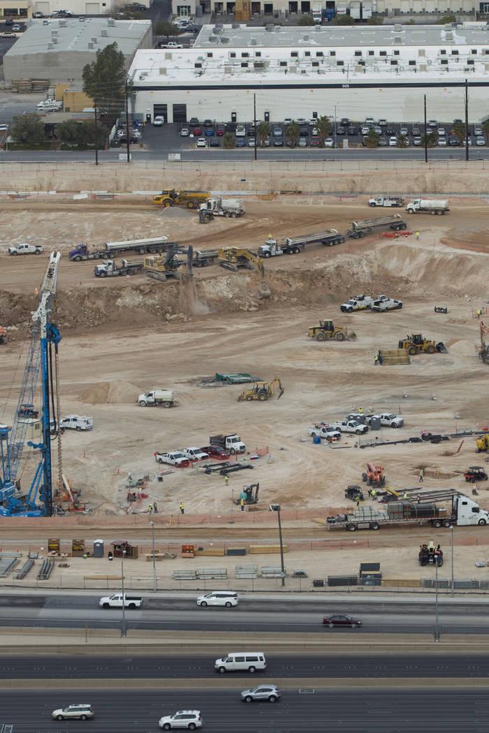 The site of the future Raiders stadium as seen from the roof of Mandalay Bayin Las Vegas, Friday, March 9, 2018. Erik Verduzco Las Vegas Review-Journal @Erik_Verduzco