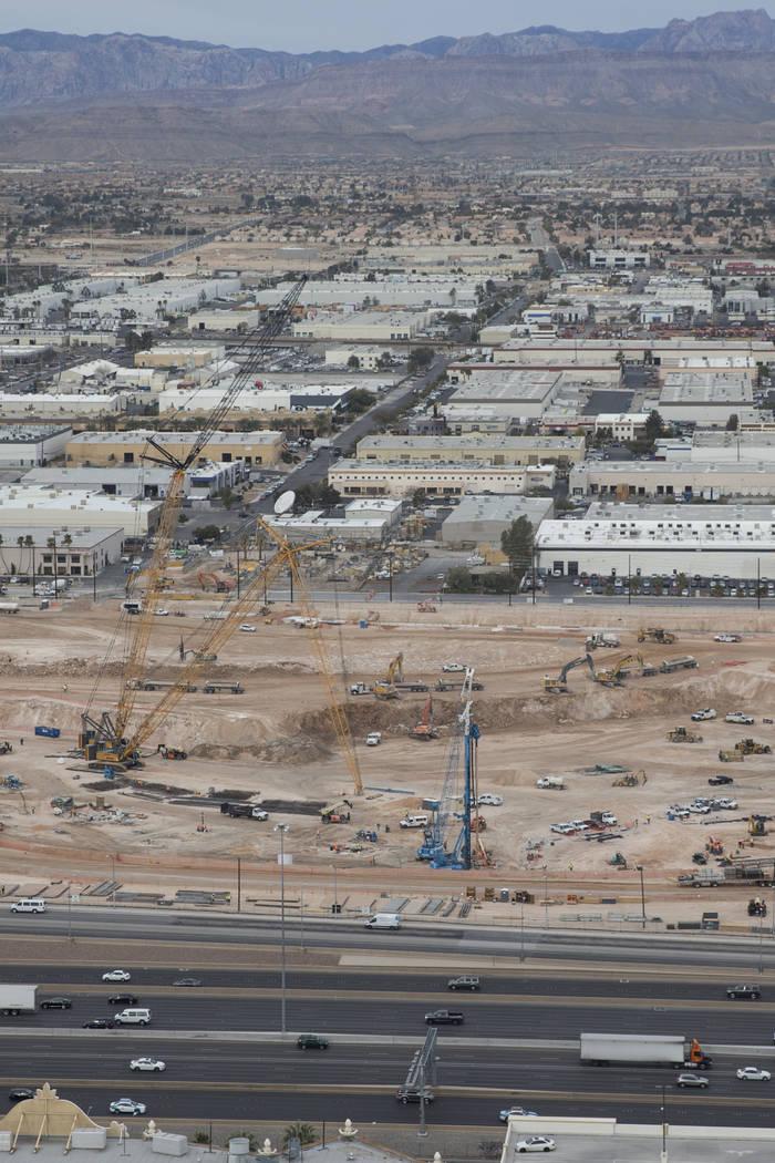 The site of the future Raiders stadium as seen from the roof of Mandalay Bay in Las Vegas, Friday, March 9, 2018. Erik Verduzco Las Vegas Review-Journal @Erik_Verduzco